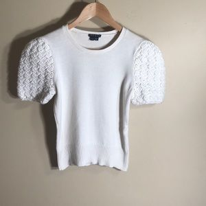 Theory short sleeve boxy sweater with knit sleeves